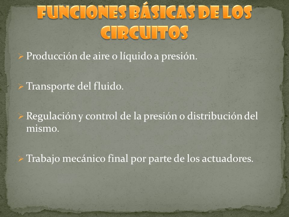 FUNCIONES BÁSICAS DE LOS CIRCUITOS
