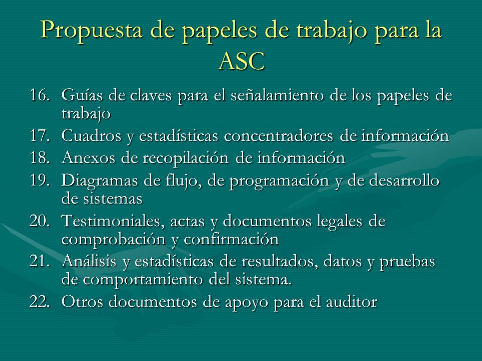 Propuesta de papeles de trabajo para la ASC