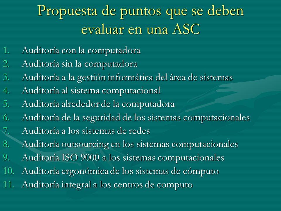 Propuesta de puntos que se deben evaluar en una ASC