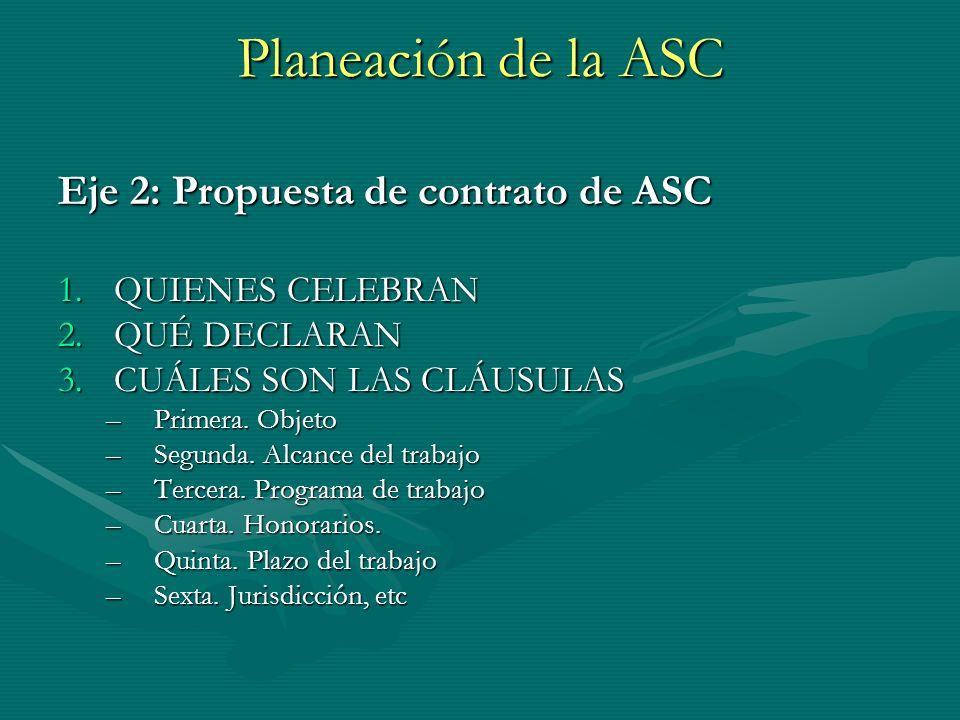 Planeación de la ASC Eje 2: Propuesta de contrato de ASC