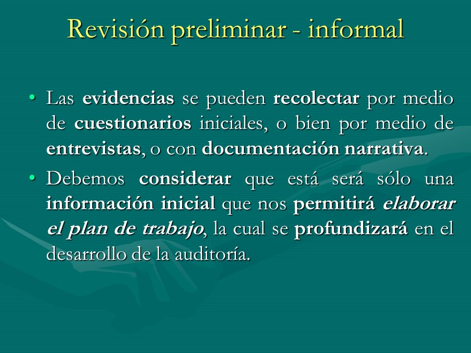 Revisión preliminar - informal