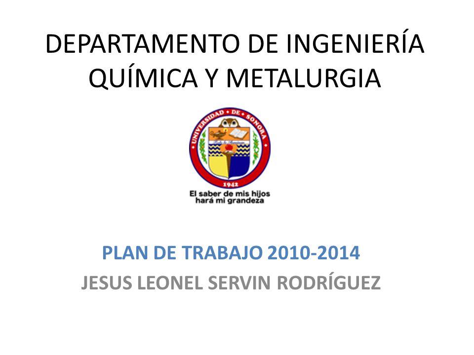 DEPARTAMENTO DE INGENIERÍA QUÍMICA Y METALURGIA