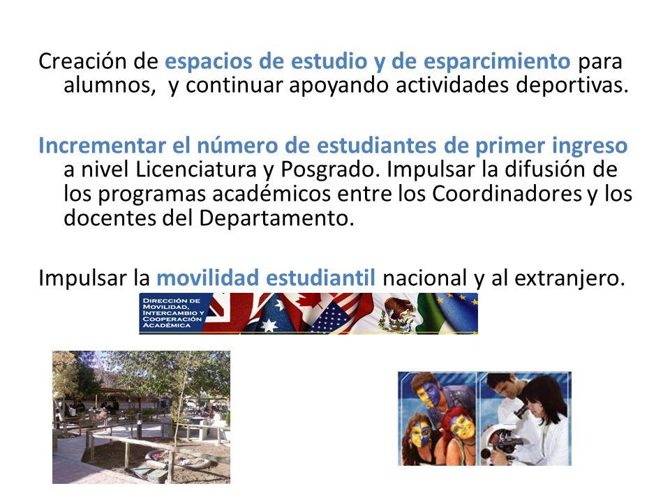 Creación de espacios de estudio y de esparcimiento para alumnos, y continuar apoyando actividades deportivas.