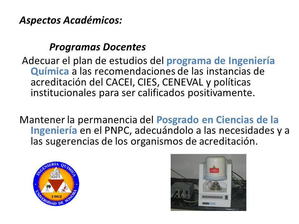 Aspectos Académicos: Programas Docentes Adecuar el plan de estudios del programa de Ingeniería Química a las recomendaciones de las instancias de acreditación del CACEI, CIES, CENEVAL y políticas institucionales para ser calificados positivamente.