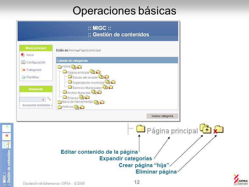Operaciones básicas Editar contenido de la página Expandir categorías