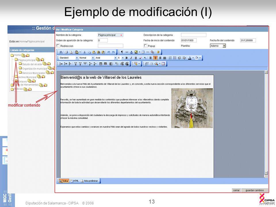 Ejemplo de modificación (I)