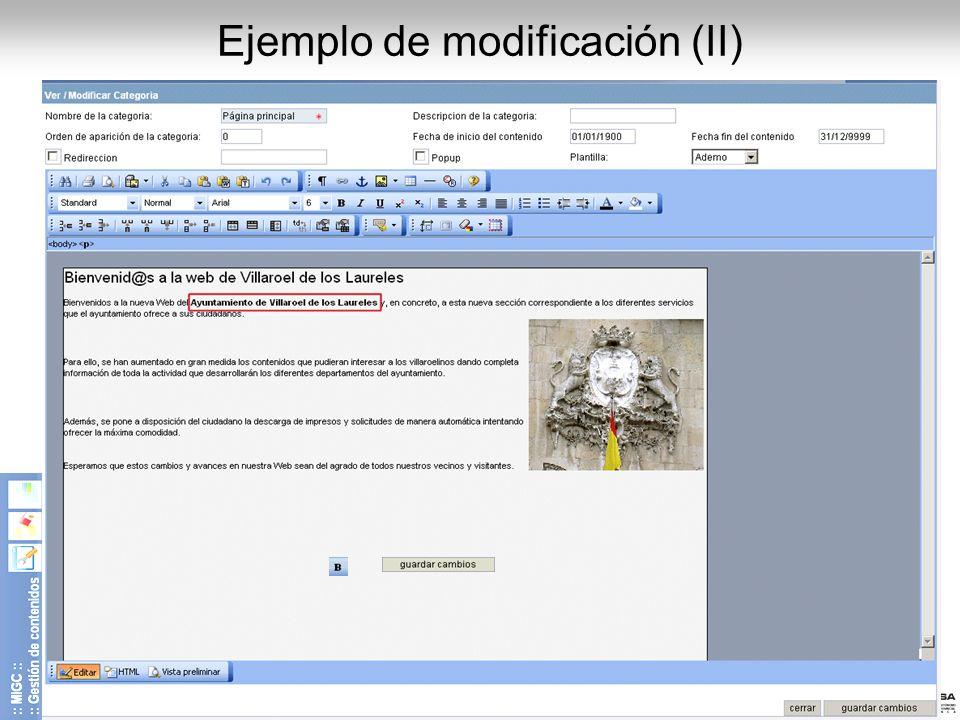 Ejemplo de modificación (II)