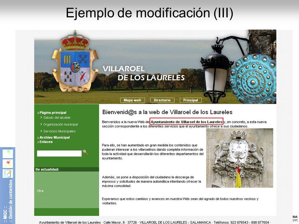 Ejemplo de modificación (III)