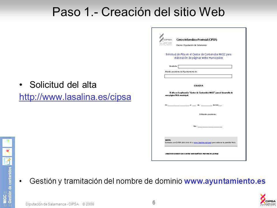 Paso 1.- Creación del sitio Web