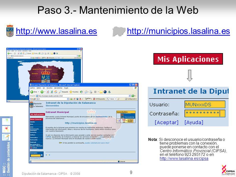 Paso 3.- Mantenimiento de la Web