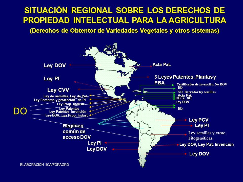 SITUACIÓN REGIONAL SOBRE LOS DERECHOS DE PROPIEDAD INTELECTUAL PARA LA AGRICULTURA (Derechos de Obtentor de Variedades Vegetales y otros sistemas)