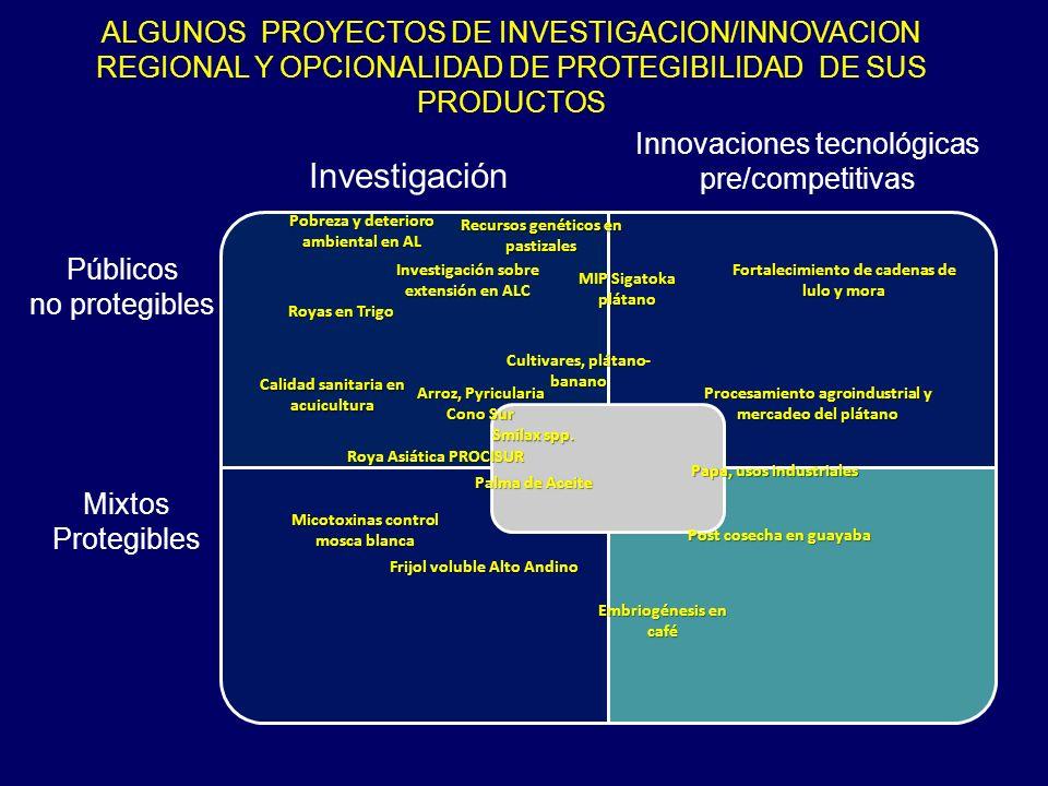 ALGUNOS PROYECTOS DE INVESTIGACION/INNOVACION REGIONAL Y OPCIONALIDAD DE PROTEGIBILIDAD DE SUS PRODUCTOS