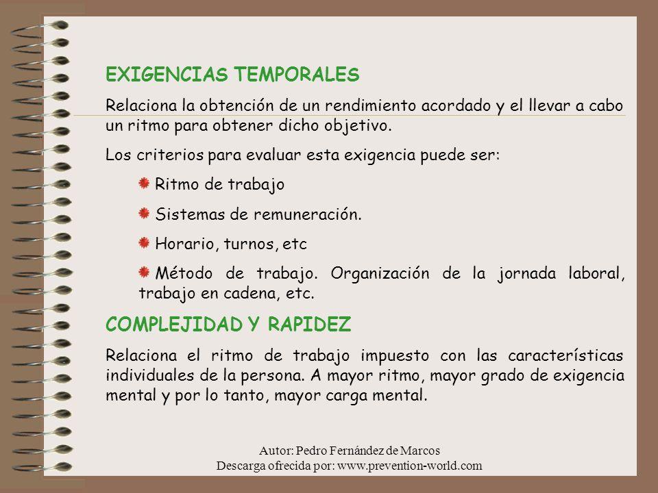 EXIGENCIAS TEMPORALES