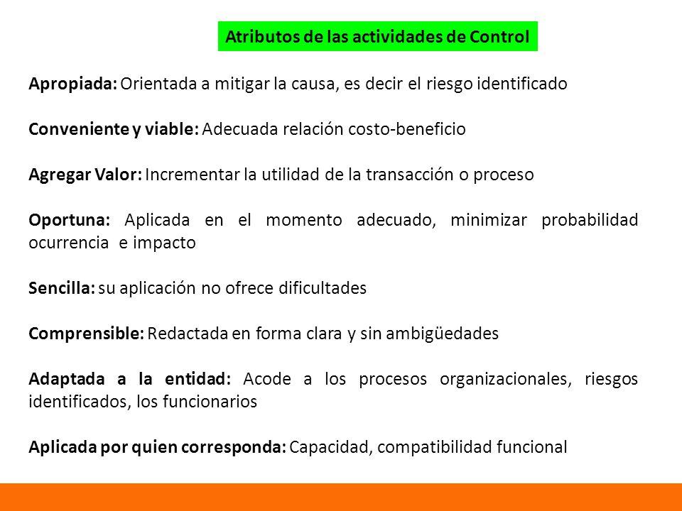 Atributos de las actividades de Control