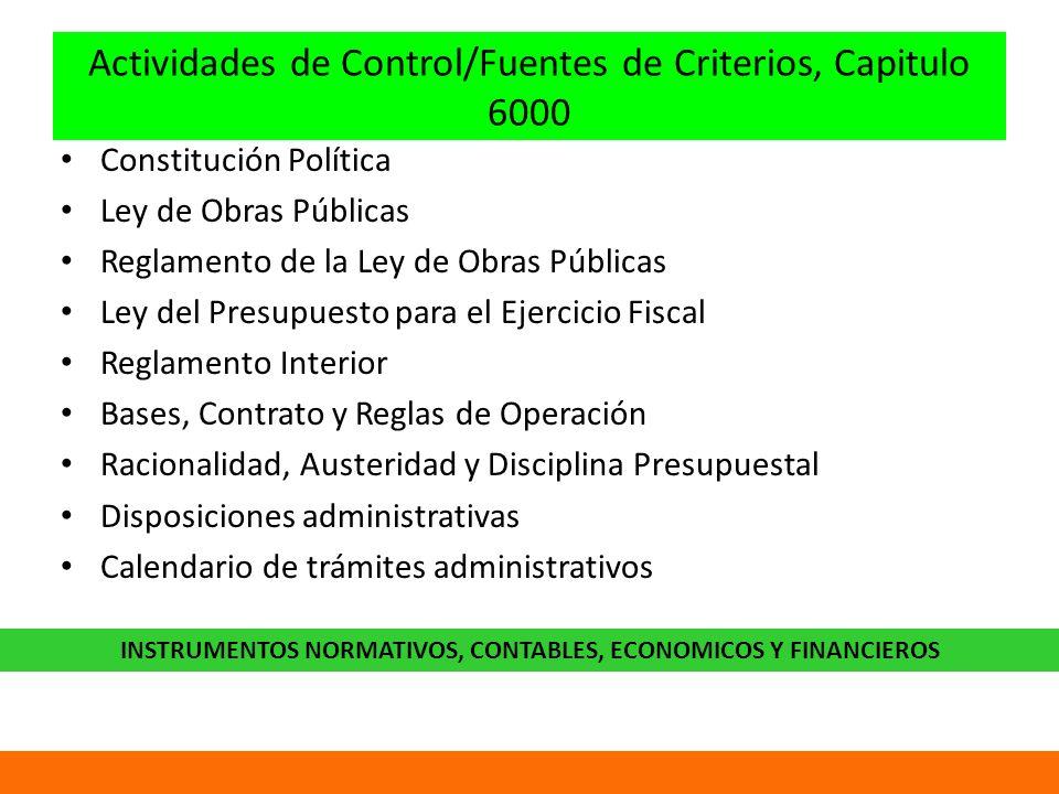 Actividades de Control/Fuentes de Criterios, Capitulo 6000