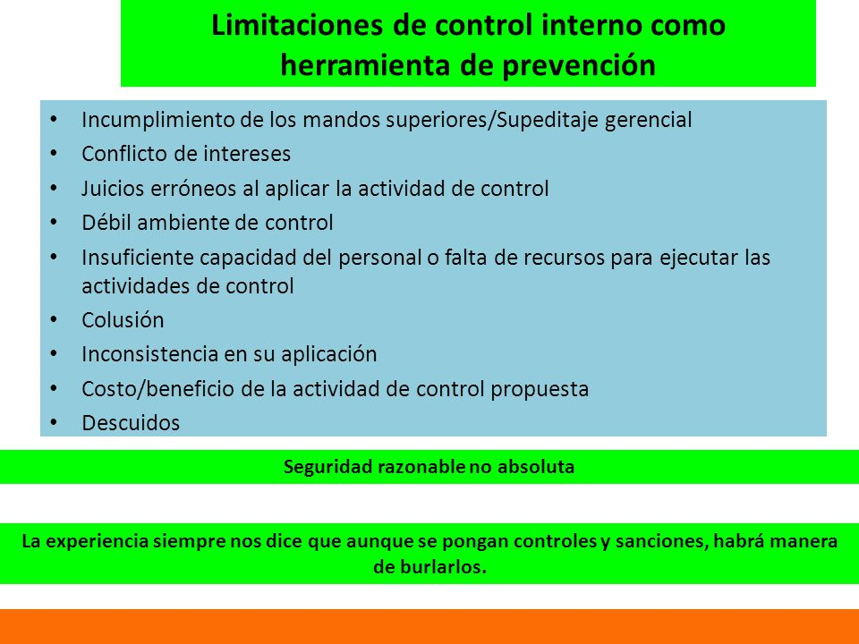 Limitaciones de control interno como herramienta de prevención
