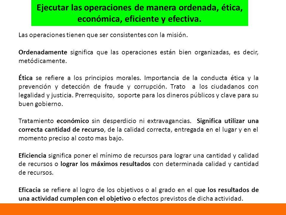 Ejecutar las operaciones de manera ordenada, ética,