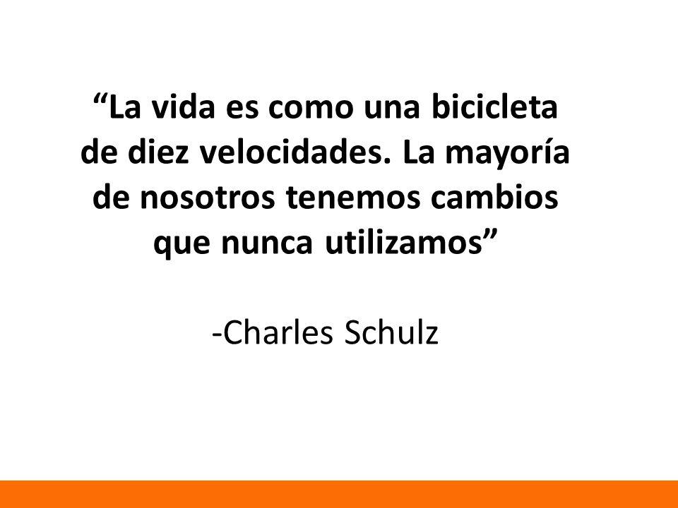 La vida es como una bicicleta de diez velocidades. La mayoría