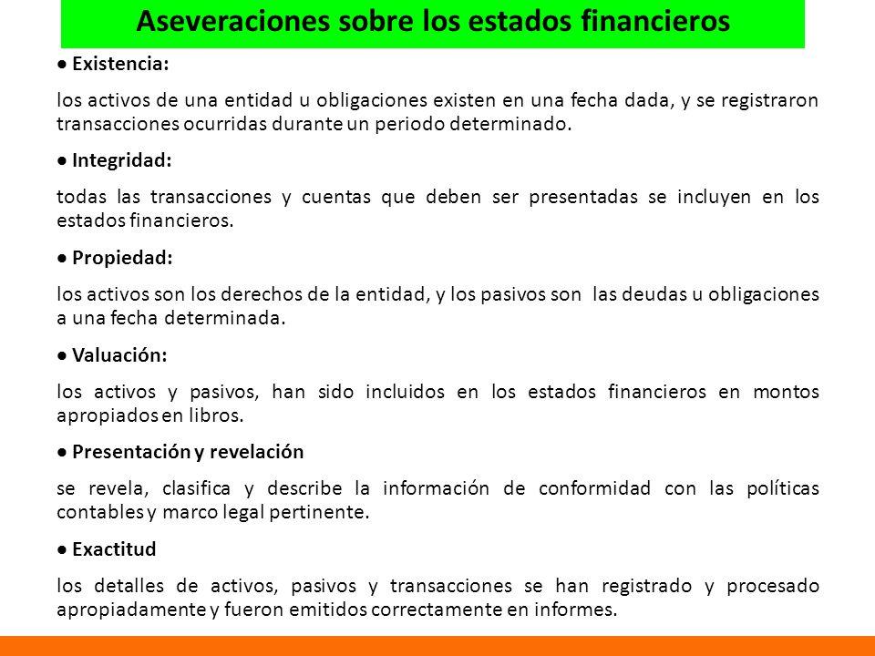 Aseveraciones sobre los estados financieros