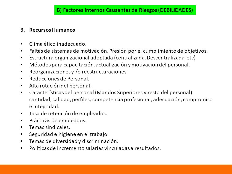 B) Factores Internos Causantes de Riesgos (DEBILIDADES)