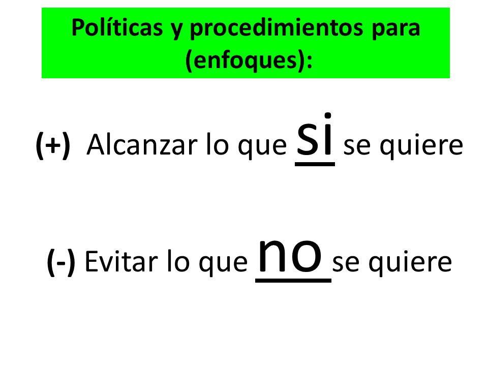 Políticas y procedimientos para
