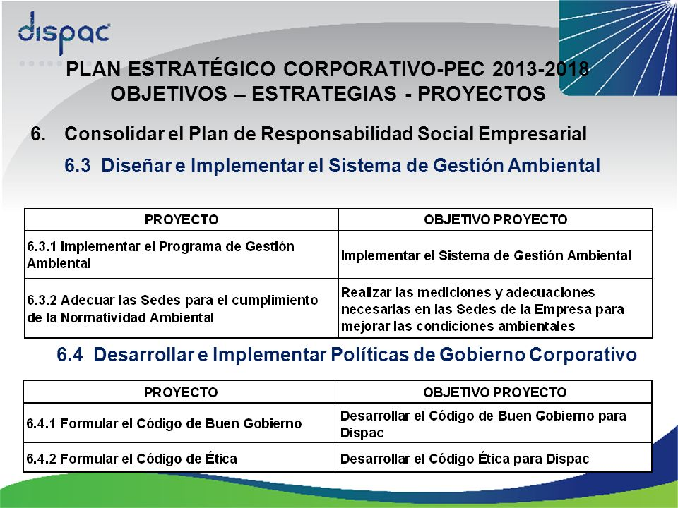 PLAN ESTRATÉGICO CORPORATIVO-PEC 2013-2018 OBJETIVOS – ESTRATEGIAS - PROYECTOS