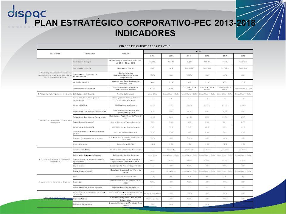 PLAN ESTRATÉGICO CORPORATIVO-PEC 2013-2018 INDICADORES