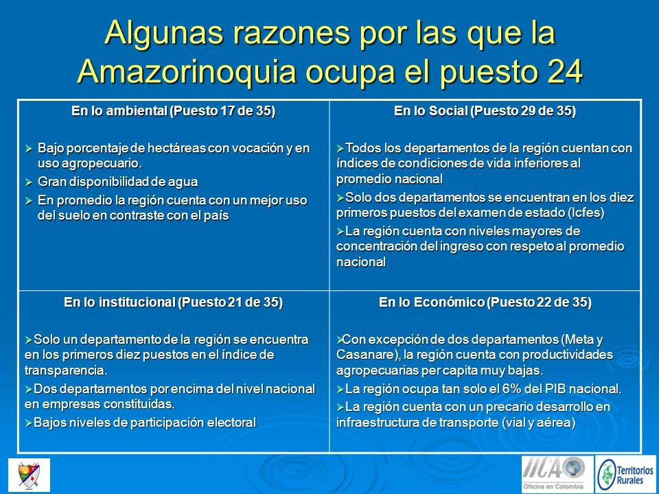 Algunas razones por las que la Amazorinoquia ocupa el puesto 24