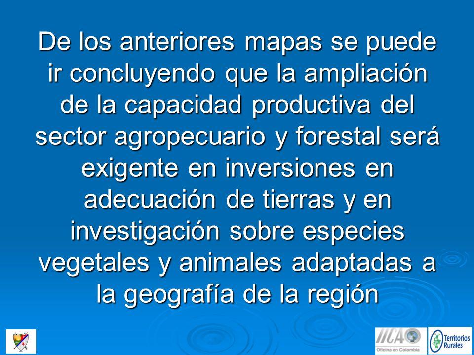 De los anteriores mapas se puede ir concluyendo que la ampliación de la capacidad productiva del sector agropecuario y forestal será exigente en inversiones en adecuación de tierras y en investigación sobre especies vegetales y animales adaptadas a la geografía de la región