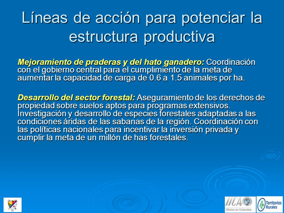 Líneas de acción para potenciar la estructura productiva