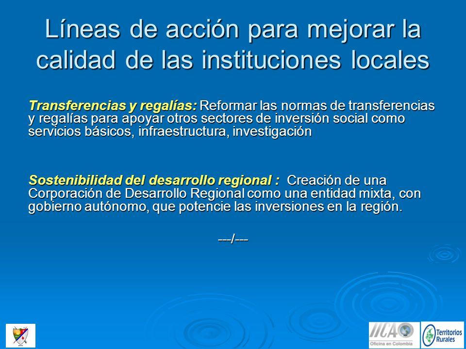 Líneas de acción para mejorar la calidad de las instituciones locales