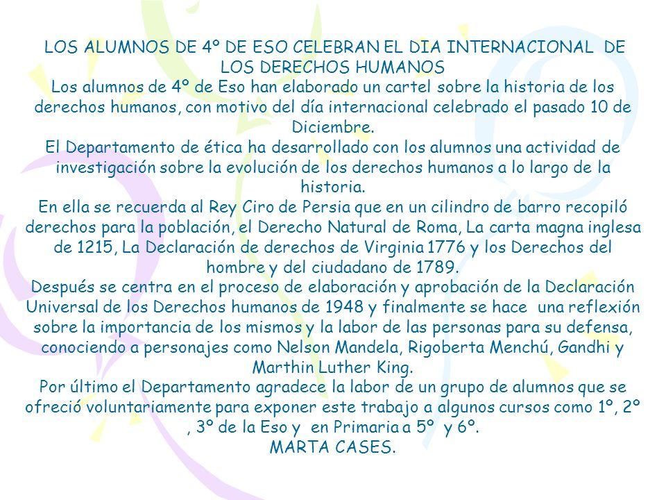 LOS ALUMNOS DE 4º DE ESO CELEBRAN EL DIA INTERNACIONAL DE LOS DERECHOS HUMANOS
