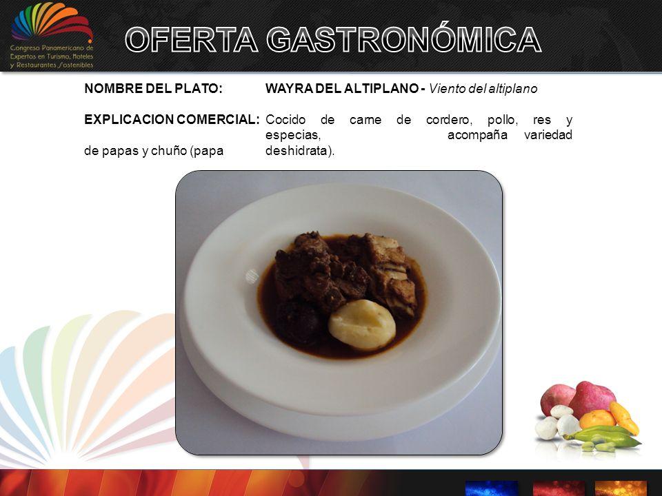 OFERTA GASTRONÓMICA NOMBRE DEL PLATO: WAYRA DEL ALTIPLANO - Viento del altiplano.