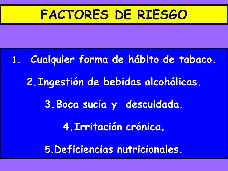FACTORES DE RIESGO Ingestión de bebidas alcohólicas.