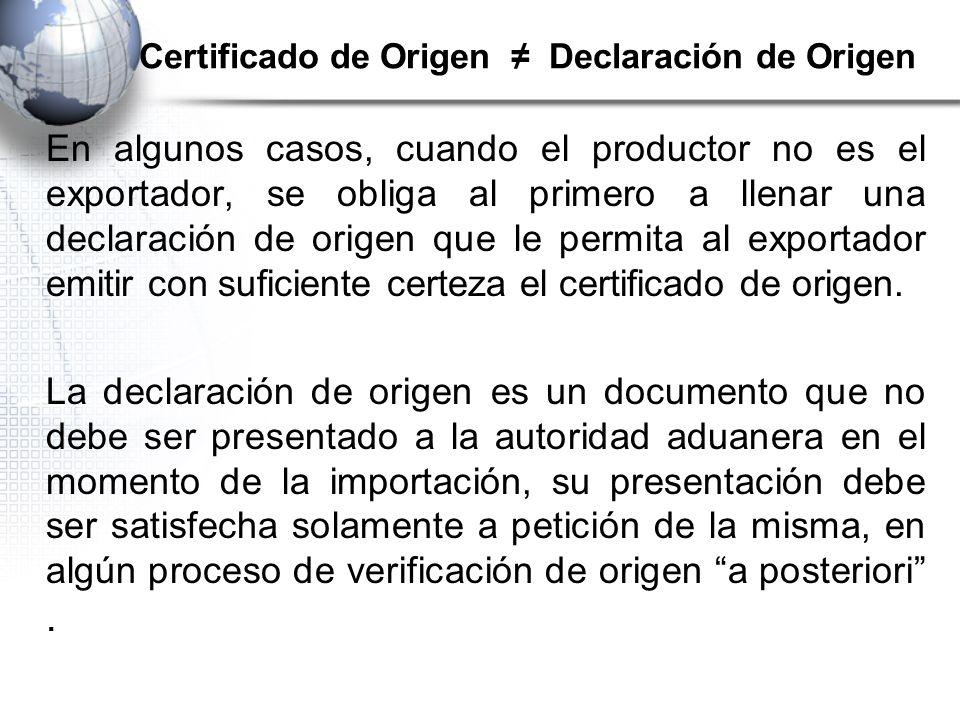 Certificado de Origen ≠ Declaración de Origen