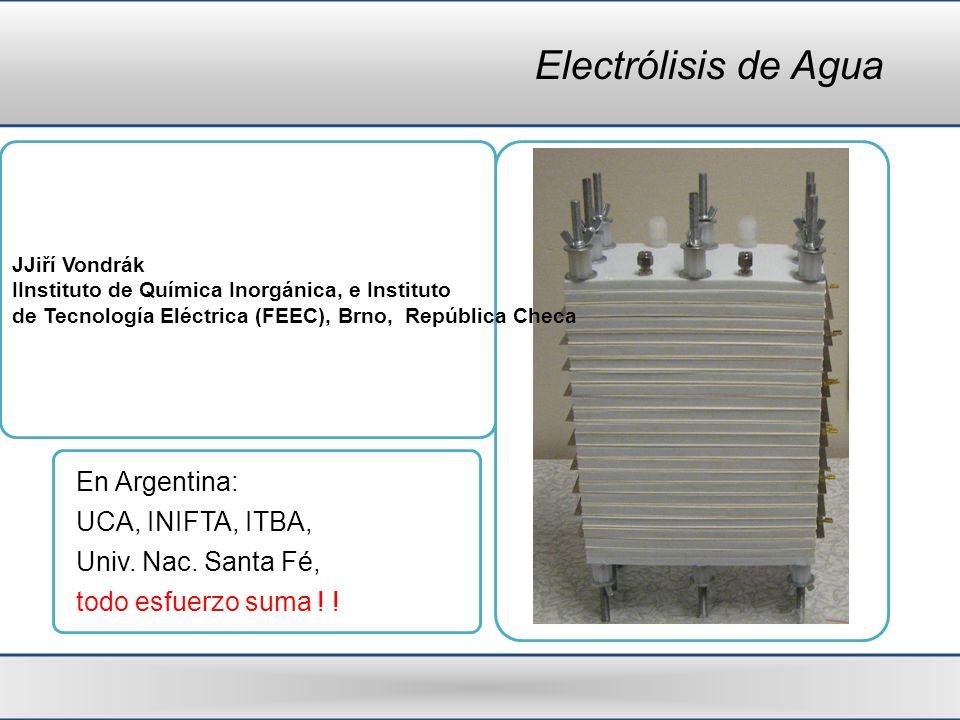 Electrólisis de Agua En Argentina: UCA, INIFTA, ITBA,