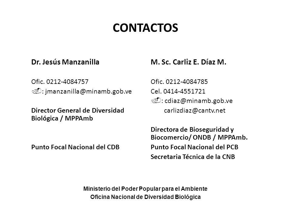 CONTACTOS Dr. Jesús Manzanilla M. Sc. Carliz E. Díaz M.