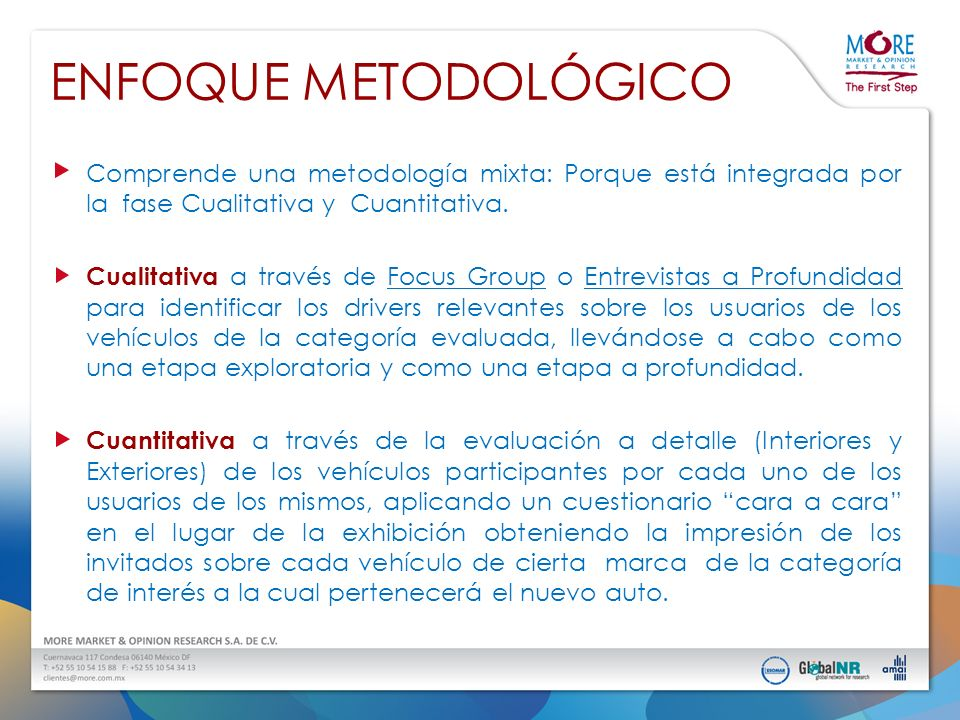 ENFOQUE METODOLÓGICO Comprende una metodología mixta: Porque está integrada por la fase Cualitativa y Cuantitativa.