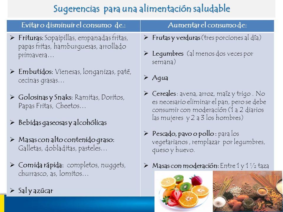 Sugerencias para una alimentación saludable