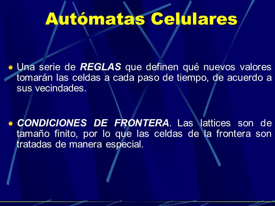 Autómatas Celulares Una serie de REGLAS que definen qué nuevos valores tomarán las celdas a cada paso de tiempo, de acuerdo a sus vecindades.