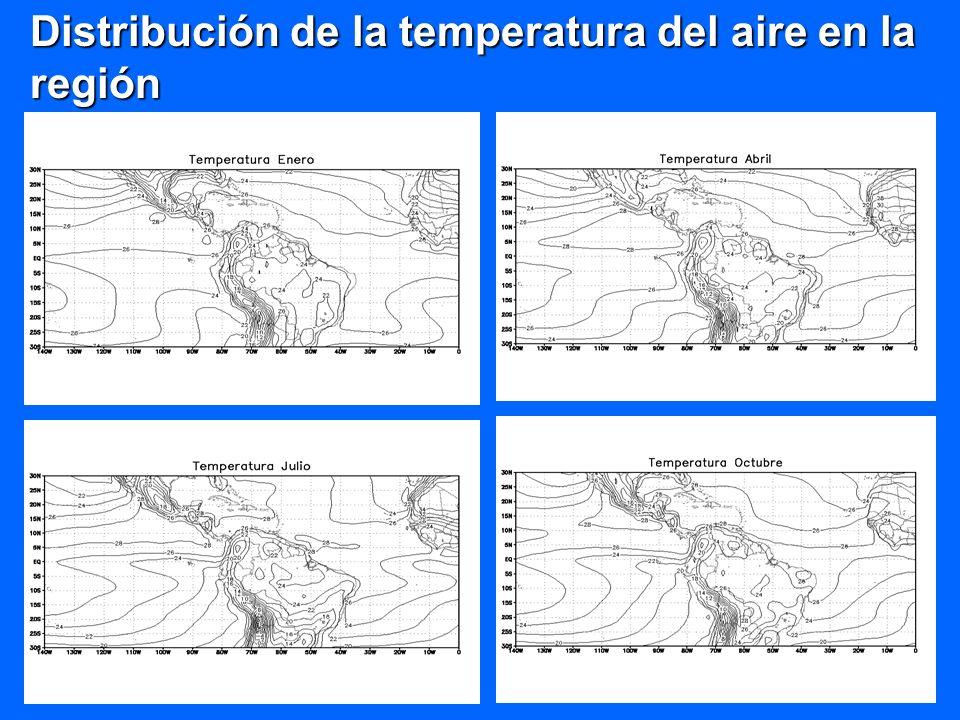 Distribución de la temperatura del aire en la región