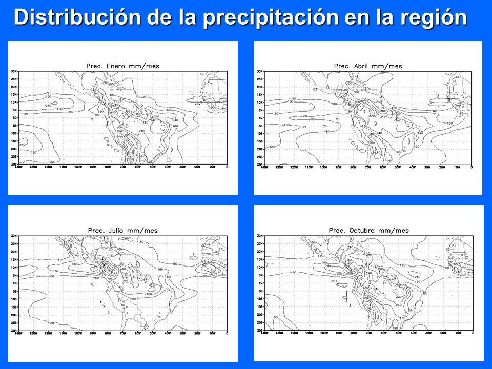 Distribución de la precipitación en la región