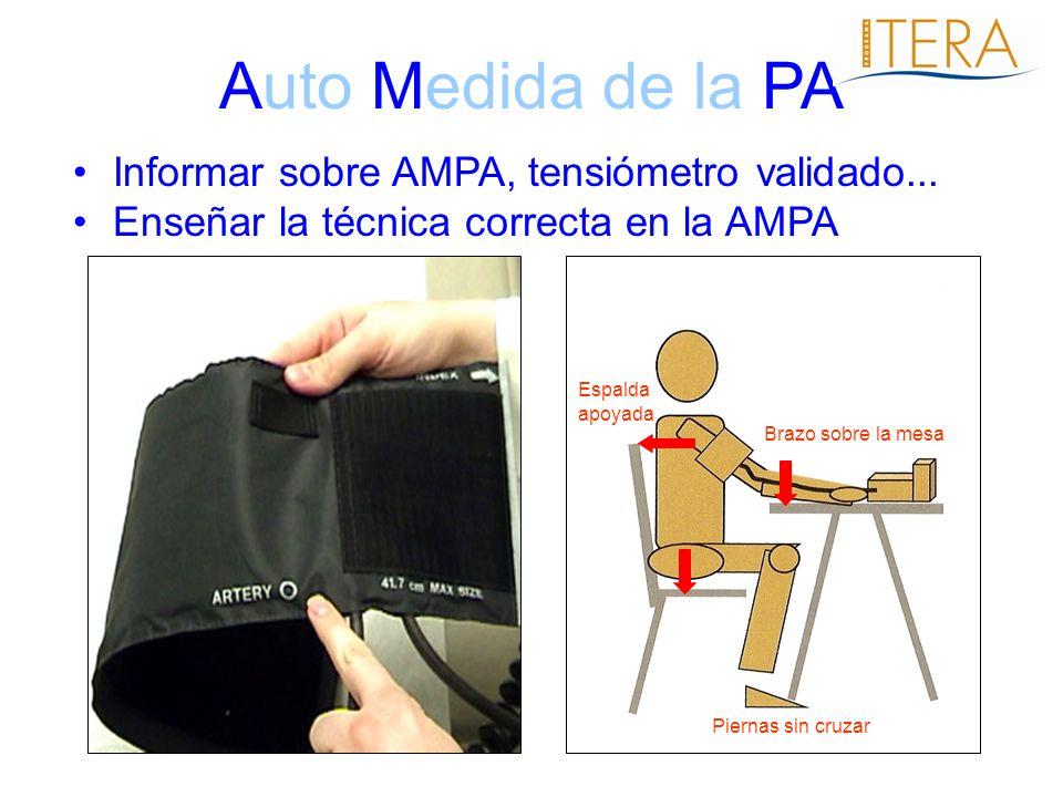 Auto Medida de la PA Informar sobre AMPA, tensiómetro validado...