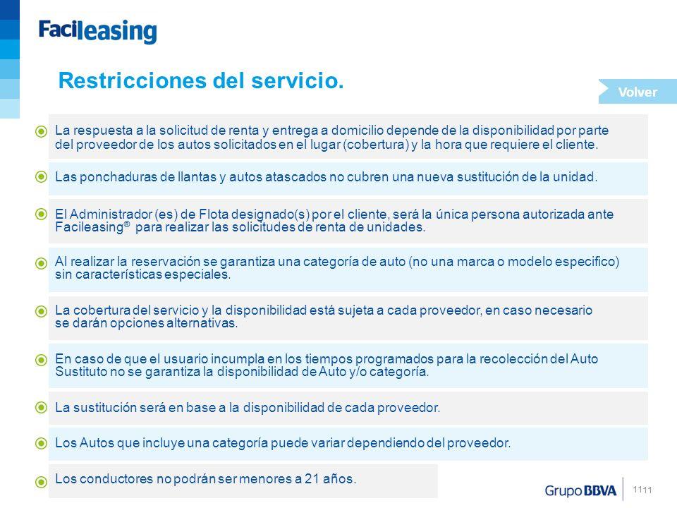 Restricciones del servicio.