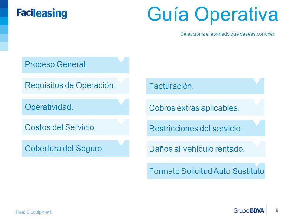 Guía Operativa Proceso General. Requisitos de Operación. Facturación.