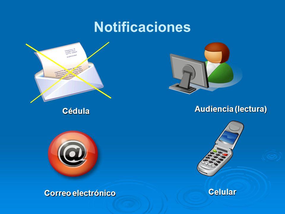 Notificaciones Audiencia (lectura) Cédula Correo electrónico Celular