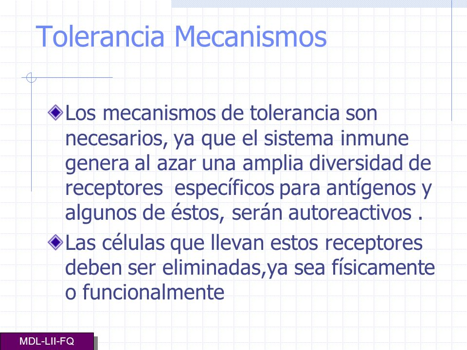 Tolerancia Mecanismos