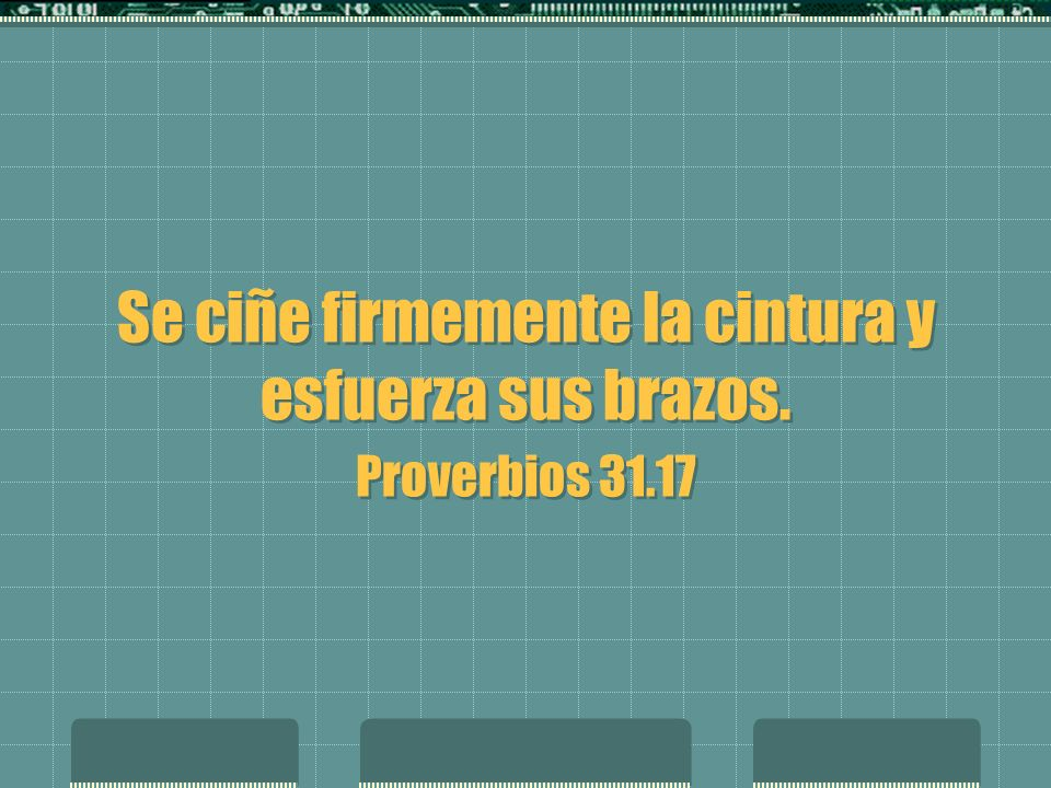 Se ciñe firmemente la cintura y esfuerza sus brazos. Proverbios 31.17