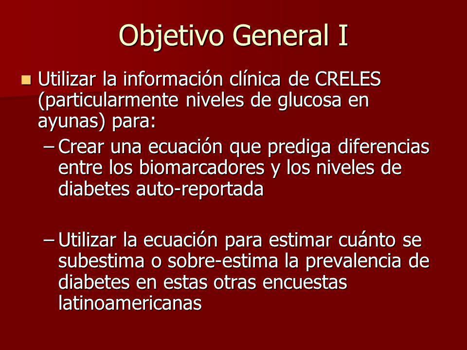 Objetivo General I Utilizar la información clínica de CRELES (particularmente niveles de glucosa en ayunas) para: