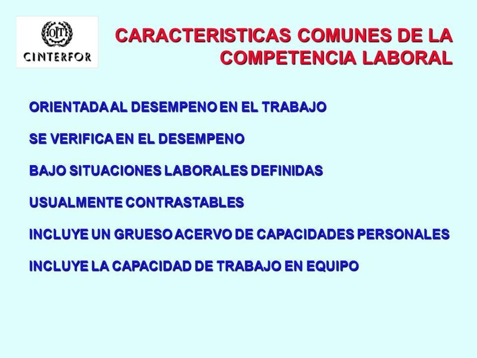 CARACTERISTICAS COMUNES DE LA COMPETENCIA LABORAL
